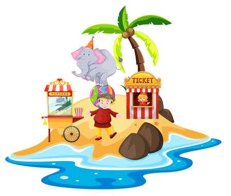 Ocean scene with people and elephant on little island illustration Иллюстрация