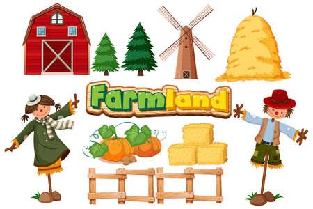 Set of farming items on white background illustration