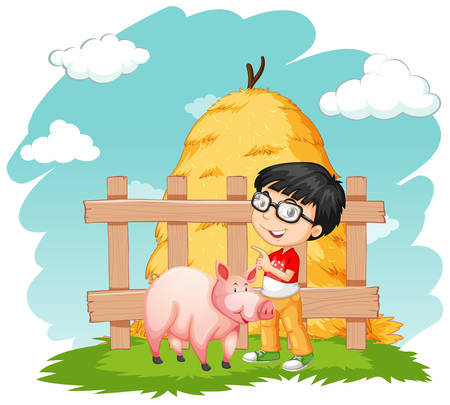 Happy boy and pig on the farm illustration Ilustrace