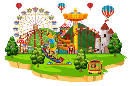 Scene with many children playing on the circus rides illustration