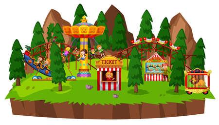 Island scene with many kids playing on circus rides illustration Illustration
