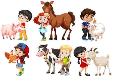 Happy children with farm animals on white background illustration