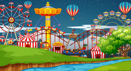Scene with many rides in the funpark at night illustration Vectores