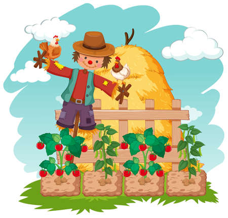 Scene with scarecrow and vegetables on the farm illustration