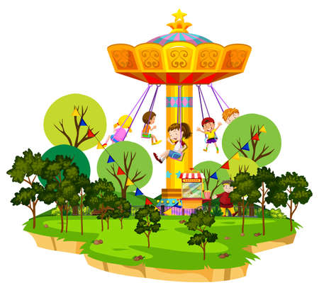Scene with many kids riding on giant swing in the park illustration