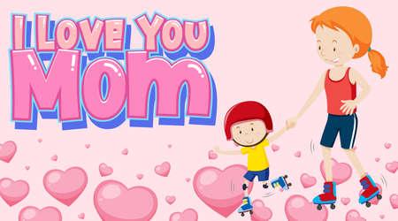 I love you mom sign illustration