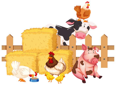 Many farm animals on white background illustration