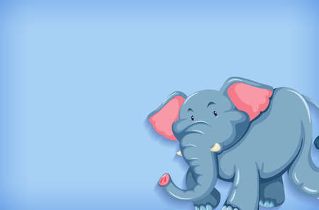Background template with plain color wall and happy elephant illustration