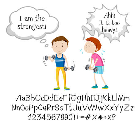 English phrase with people in actions on white background illustration