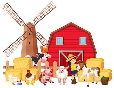 Scene with farmer and many farm animals illustration
