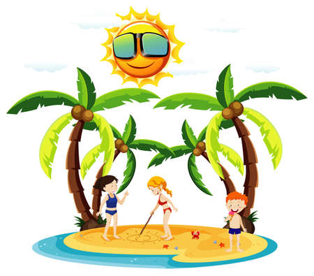 Ocean scene with kids playing on the beach illustration