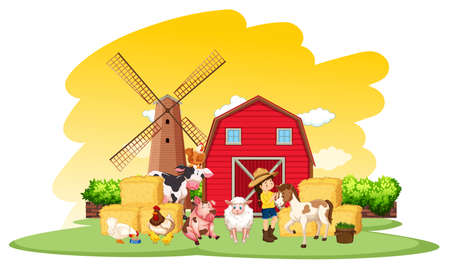 Farm scene with farmer and many animals on the farm illustration