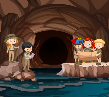 Scene with group of scouts exploring the cave illustration