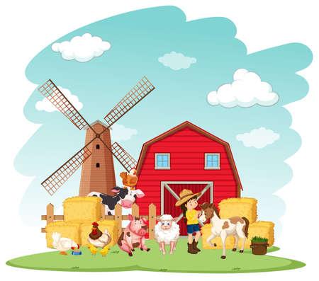 Farm scene with farmer and animals on the farm illustration