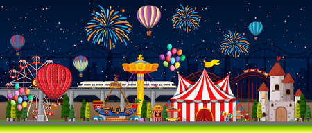 Themepark scene with many rides at night illustration
