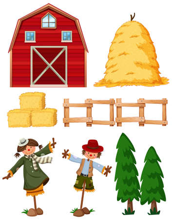 Set of farming items with barn and scarecrows illustration