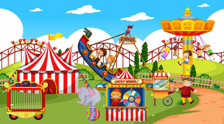 Themepark scene with many rides and happy children illustration Illustration