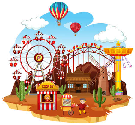 Themepark scene with many rides and balloons illustration