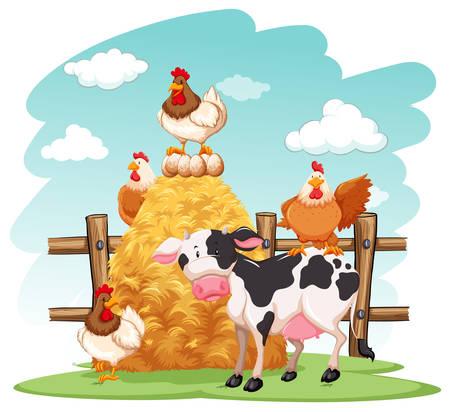Farm scene with many animals on the farm illustration Vektorgrafik