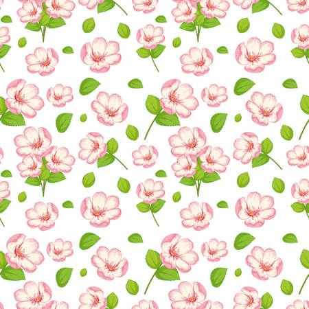 Set of cute pink flowers and leaf illustration