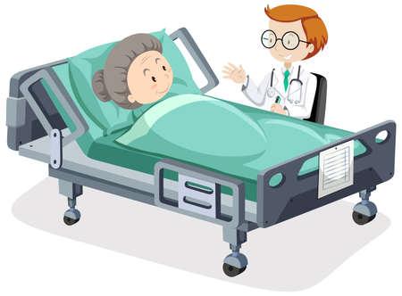 Posterdesign für Coronavirus-Thema mit kranker Frau und Arztillustration
