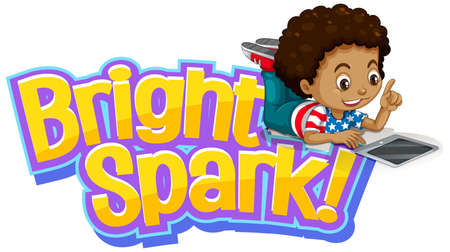 Font design for word bright spark with little boy working on computer illustration