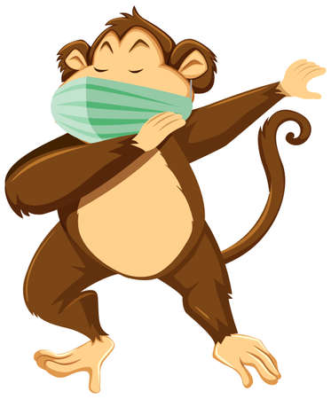 Monkey cartoon character wearing mask illustration