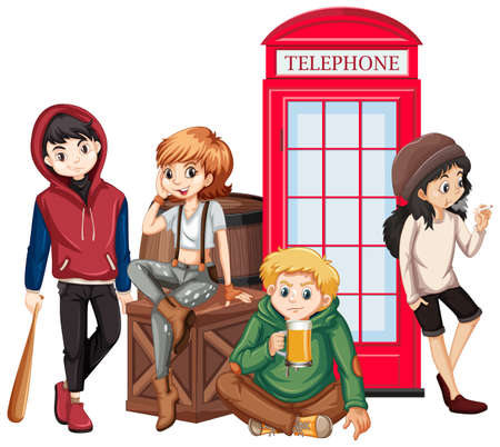 Teenagers hanging out by the telephone booth illustration Illustration