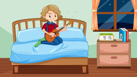 Girl playing guitar in bedroom illustration