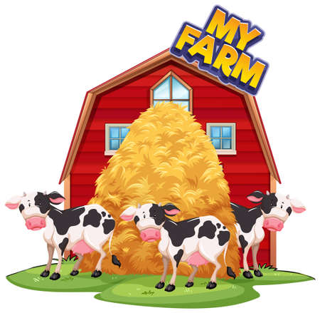 Font design for word my farm with cows at the barn illustration
