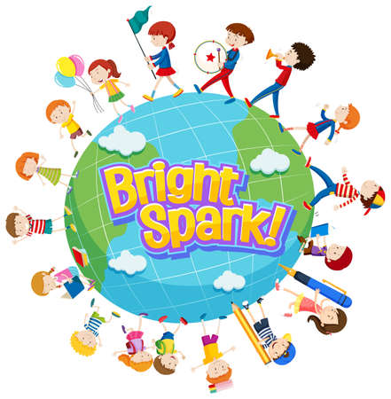 Word design for bright spark with many kids around the world illustration