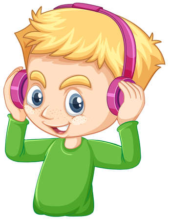 Cute boy wearing pink head phone on white background illustration