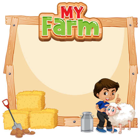 Border template design with boy and sheep illustration