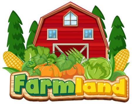 Farmland sign template with red barn and vegetables illustration