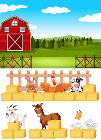 Farm scene with farm animals on the farm illustration