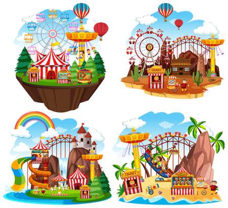 Themepark scene with many rides on islands illustration Illustration
