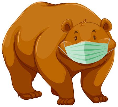 Bear cartoon character wearing mask illustration