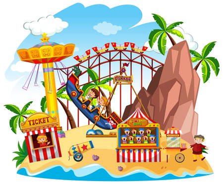 Themepark scene with many rides on the island illustration