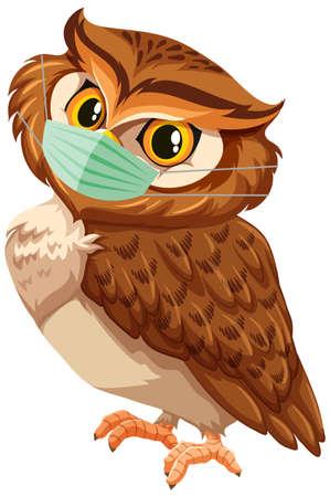Owl cartoon character wearing mask illustration