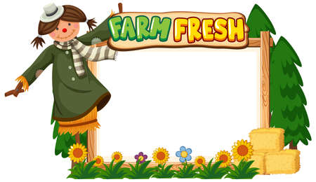 Border template design with scarecrow and flowers in garden illustration
