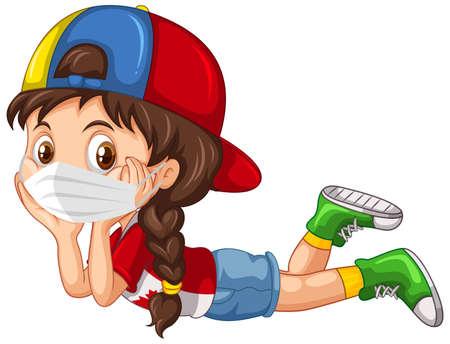 Personnage de dessin animé de fille portant une illustration de masque Vecteurs