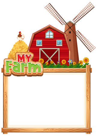 Border template design with red barn and haystack illustration
