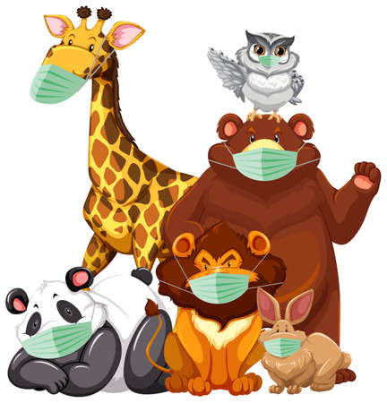 Wild animals cartoon charater  wearing mask illustration