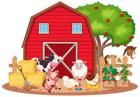 Scene with many farm animals on the farm illustration