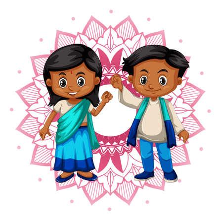 Indian boy and girl with mandala patterns background illustration Illustration