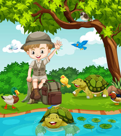 Cute boy scout in nature background illustration