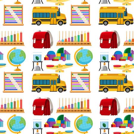 Satz stationäre Werkzeuge und nahtlose Illustration der Schule