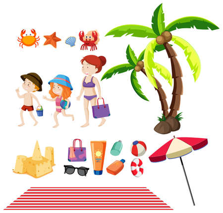 Set of people and summer items on the beach illustration
