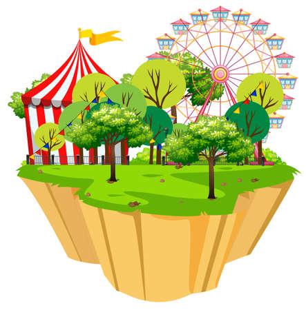 Scene with circus tent and rides in the park illustration