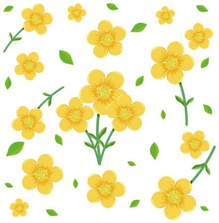 Seamless pattern with cute yellow flowers and leaf illustration